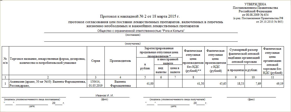 Протокол согласования цен бланк скачать